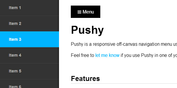 Pushy – a responsive off-canvas navigation menu using CSS transforms